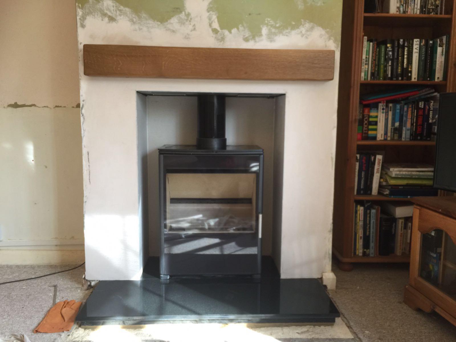 burley wood burning stove with oak beam southampton fire flair
